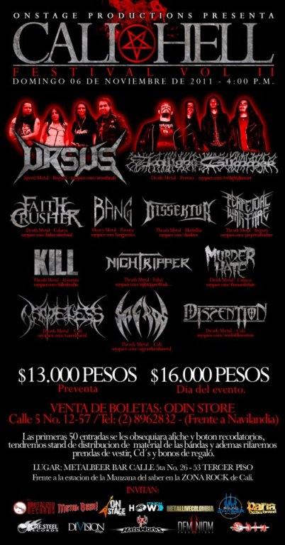 CALIHELL FESTIVAL VOL II, Nov 6 en el METAL BEER de Cali
