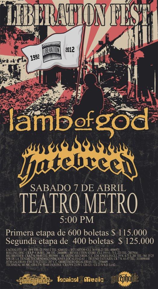 LAMB OF GOD y HATEBREED en Colombia 2012, Abr 7 Teatro Metro de Bogota
