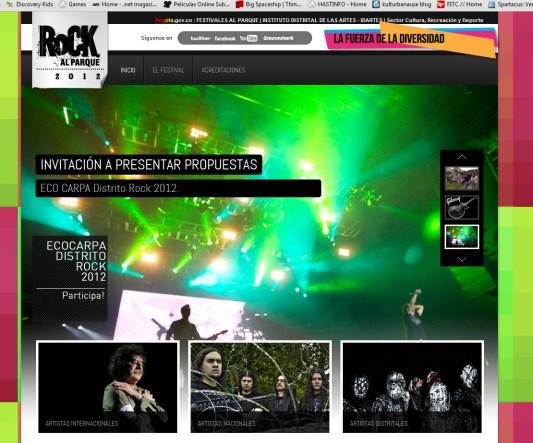 sitio web oficial rock al parque 2012
