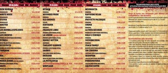 Horarios Programacion Cartel de Bandas Convivencia Rock, Festival Internacional de Pereira 2012