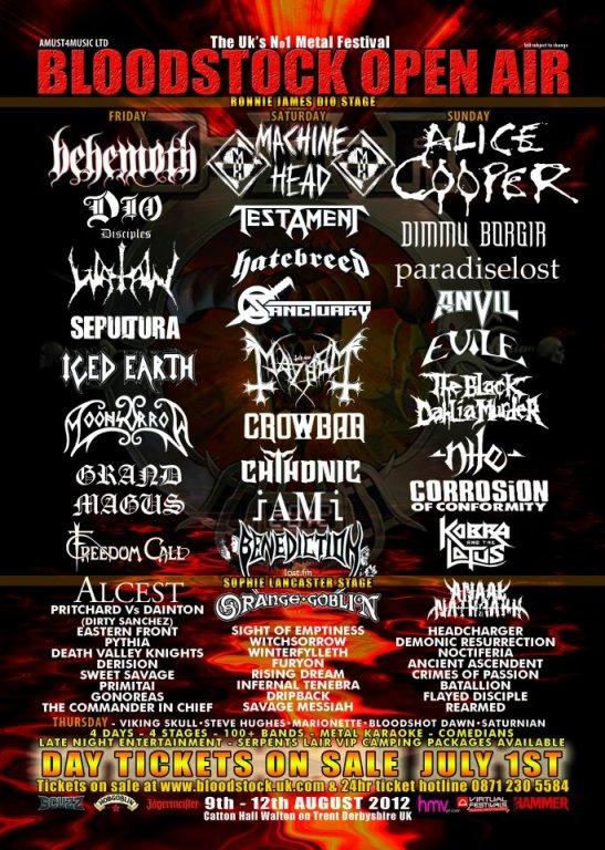 Transmision del Bloodstock Open Air 2012, el festival de Metal independiente en Catton Hall, Inglaterra con shows de Alice Cooper, Machine Head, Hatebreed, The Black Dahlia Murder, Dimmu Borgir y muchos mas...