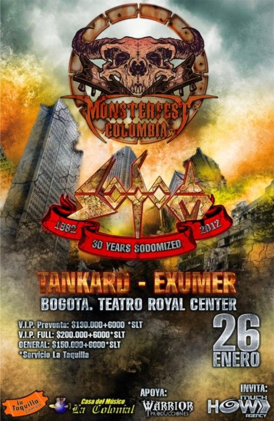 Sodom, TANKARD, Exumer, DARKNESS y War Thrashed en el MONSTER FEST COLOMBIA 2013