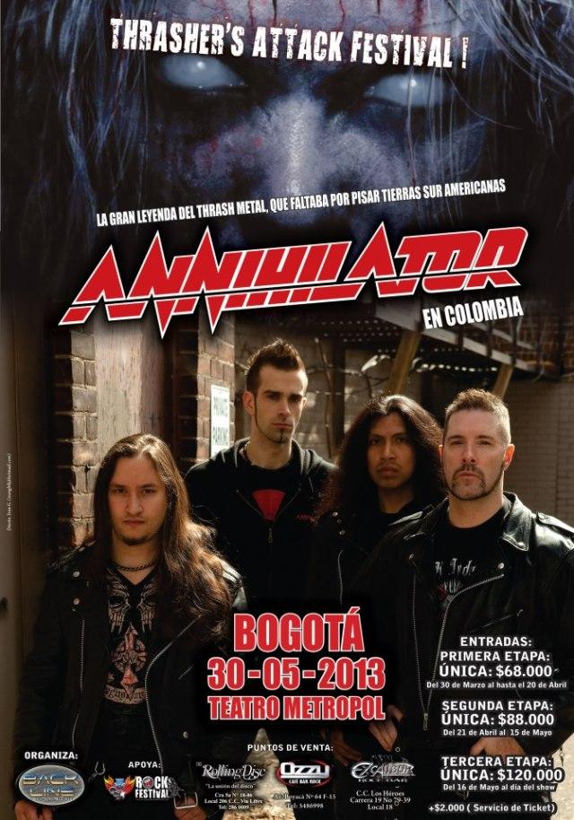 Confirmado ANNIHILATOR en Colombia 2013, May 30 en el Teatro Metropol de Bogota