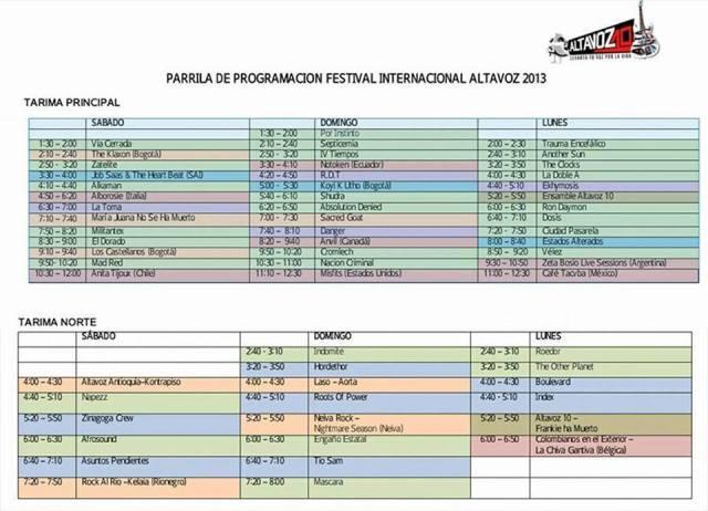 altavoz 2013 horarios