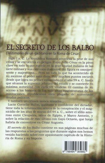 """Contraportada del libro """"El Secreto de los Balbo"""""""