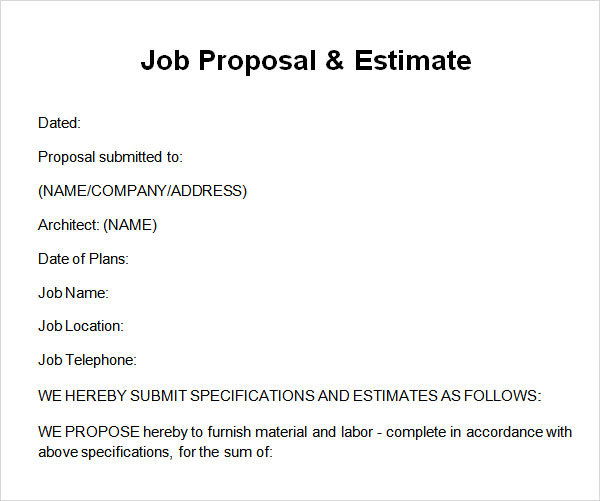 Job Proposal Template Good Looking