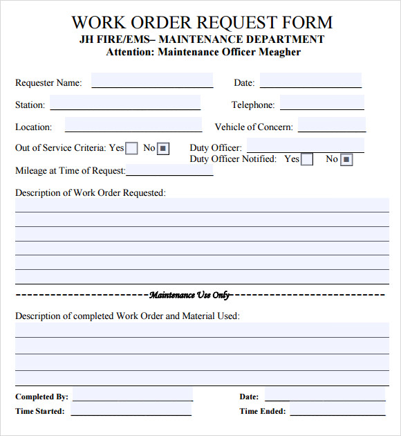 Work Request Form Maintenance Work Order Form  Work Order
