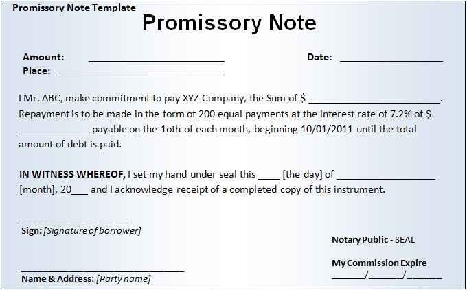 Promissory Note PDF  Note Payable Form