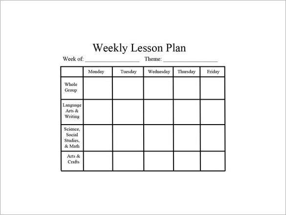 10 lesson plan template word free download pdf excel for Week long lesson plan template