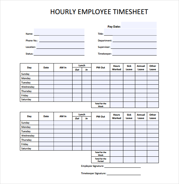 Employee Time Sheet  Free Printable Templates Download