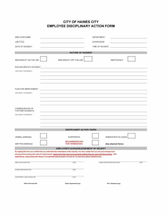 disciplinary write up
