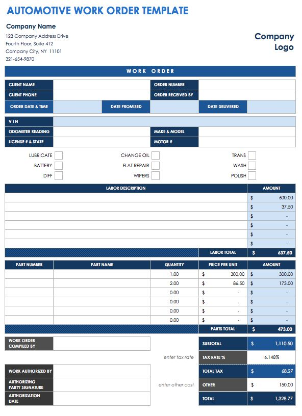40 work order template free download word excel pdf for Internal work order template