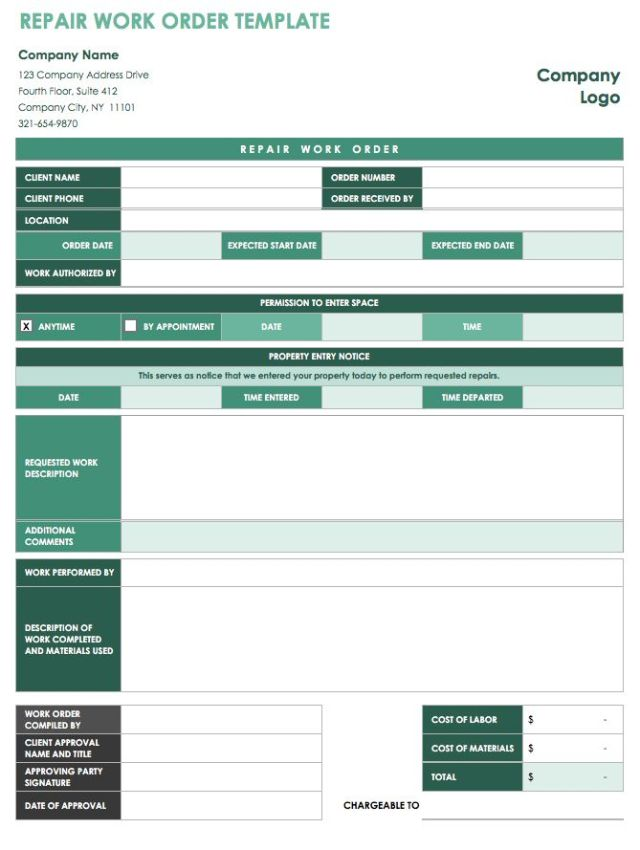 40 work order template free download word excel pdf for Repair ticket template