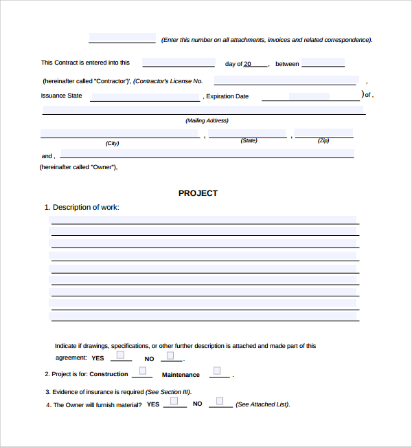5 Construction Work Order Templates Free Download – Contractor Work Order Form