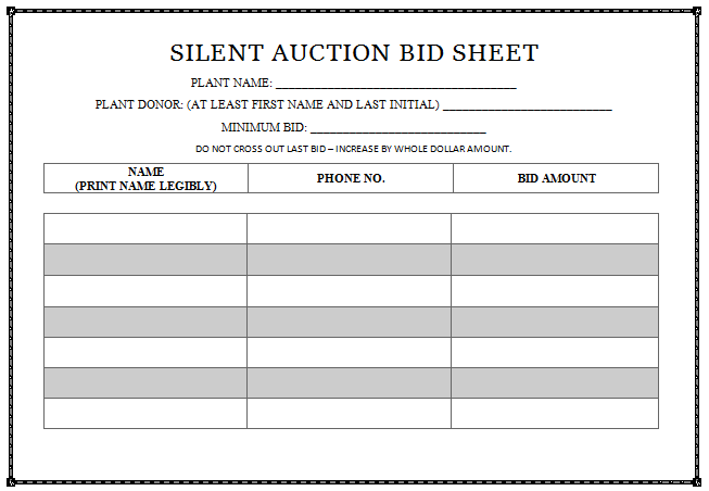 free template for silent auction bid sheets
