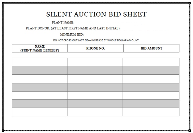 sample bid sheets for silent auctions