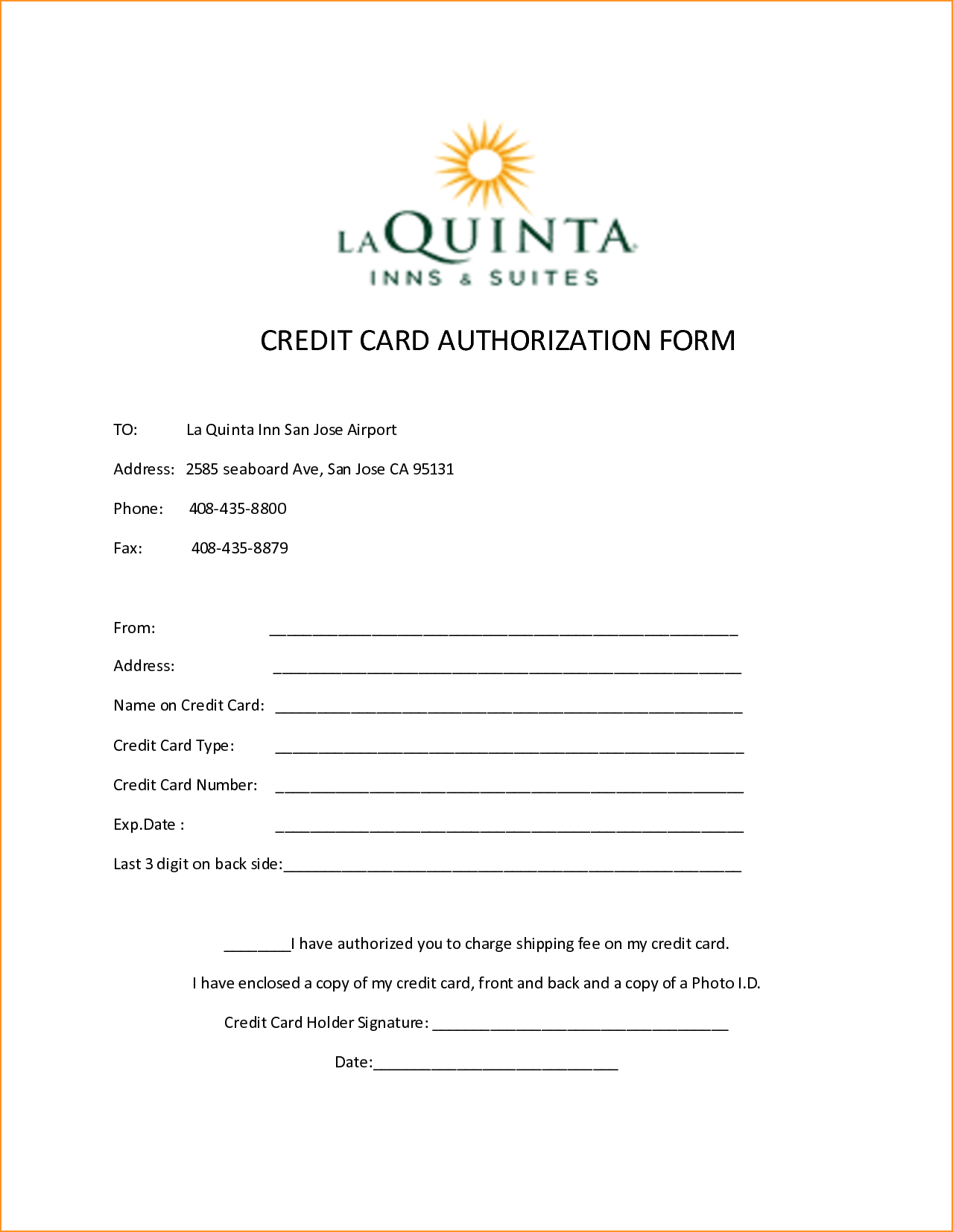 credit card payment authorization form template
