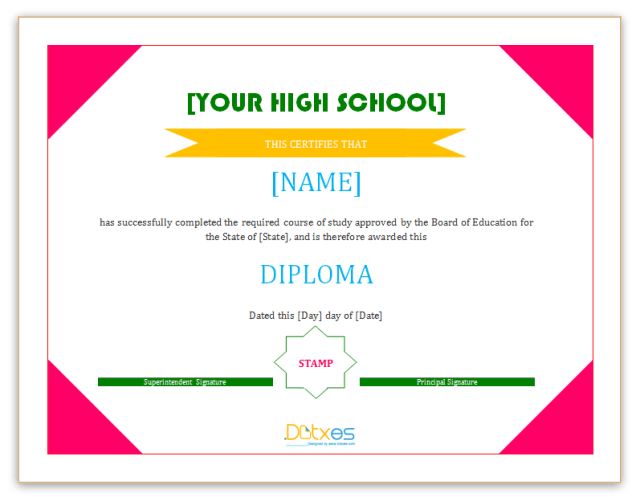 15 high school diploma templates free college transcripts diploma certificate templategresize640497 yadclub Images