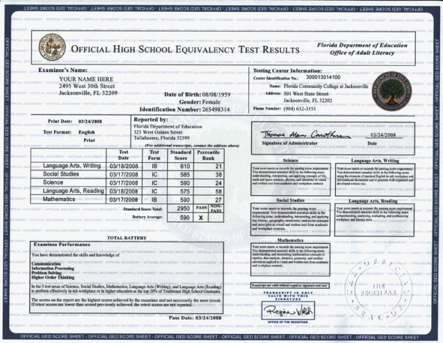fake ged transcript