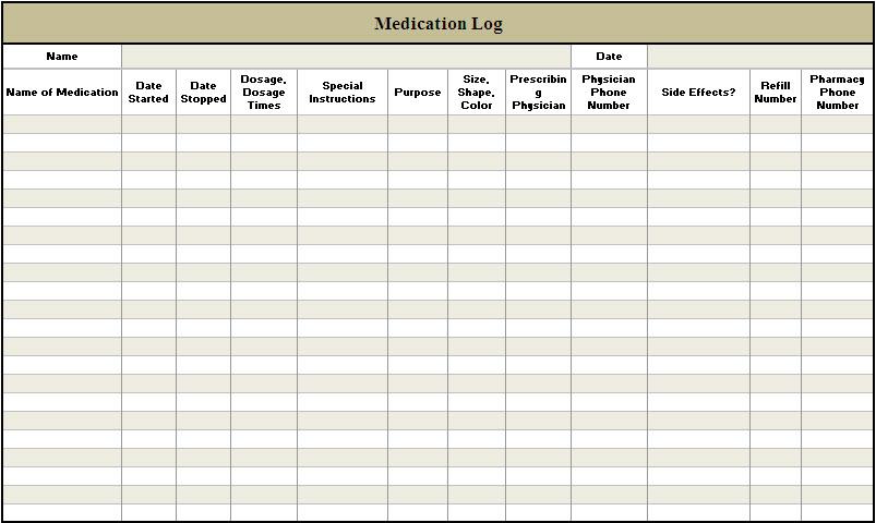 Medication log template free download elsevier social for Blank medication list templates