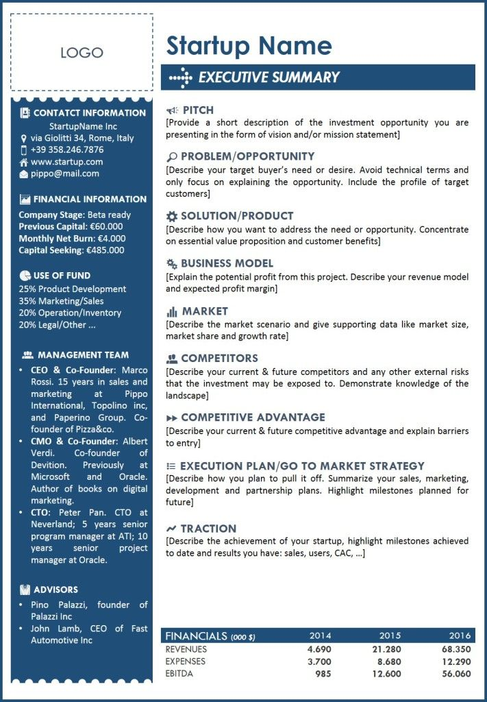 executive summary template word free download