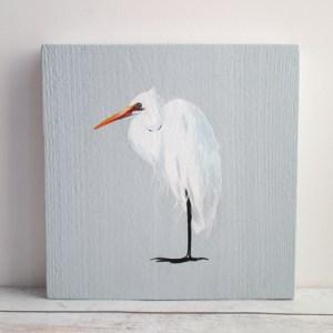 zilverreiger, vogel op hout