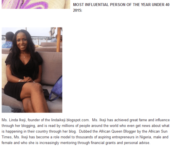 African Sun Times Most Influential Person of 2015 under 40q