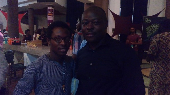 Samuel Olatunji with Helon Habila