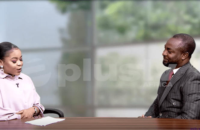 Elsie Godwin and Tony Usidamen on Plus Tv Africa one on one set - elsieisy blog