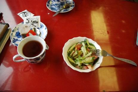 Eten in de trein Moskou naar Novosibirsk