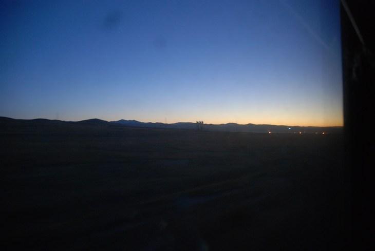 Zonsopkomst trein van Irkutsk naar Ulaanbaatar Mongolië