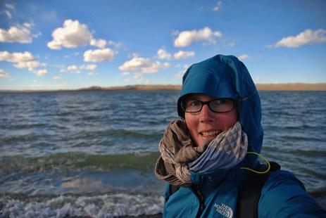 Ugii meer Mongolië selfie Els op Reis