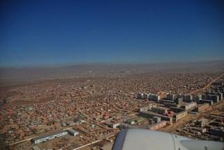 Vlucht Mongolië naar China, Ulaanbaatar avanuit de lucht