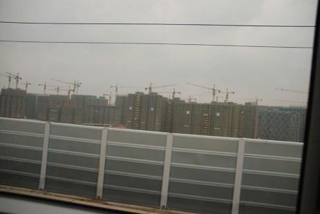 Uitzicht vanuit de trein van Shanghai naar Hangzhou China
