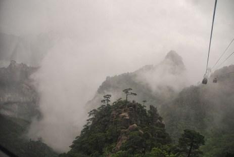 Huangshan Gele bergen China kabelbaan omhoog