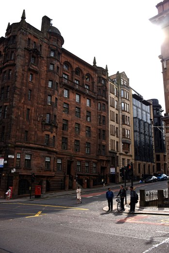 Straatbeeld in Glasgow Schotland