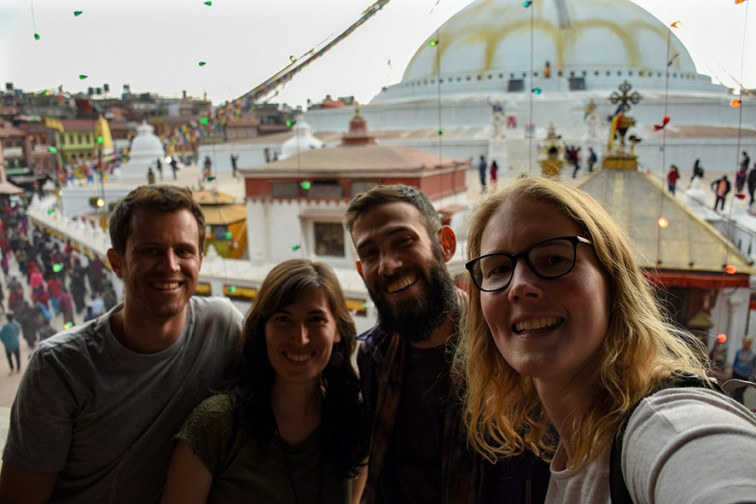 Selfie bij de Boudhanath stupa