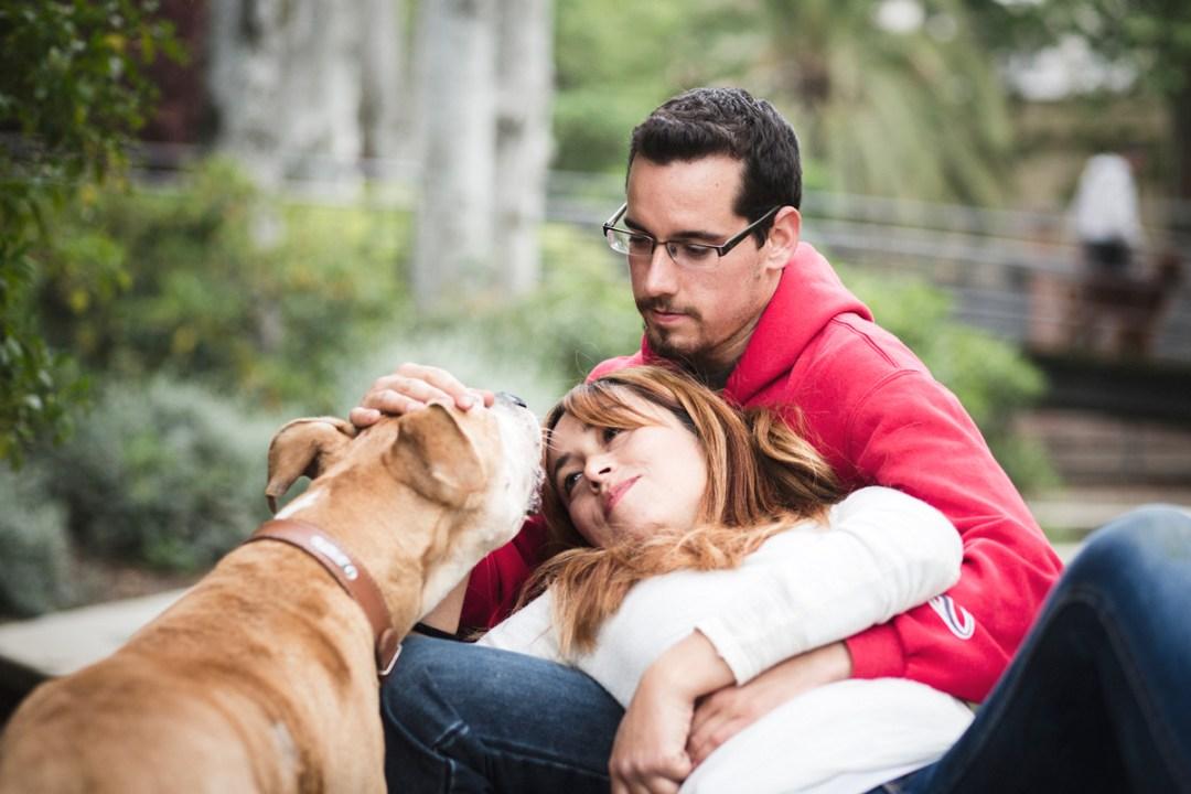 reportaje de perro PPP American Stanford y su familia en el parque