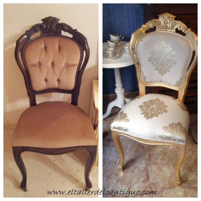 diy decorar sillas de madera en dorado