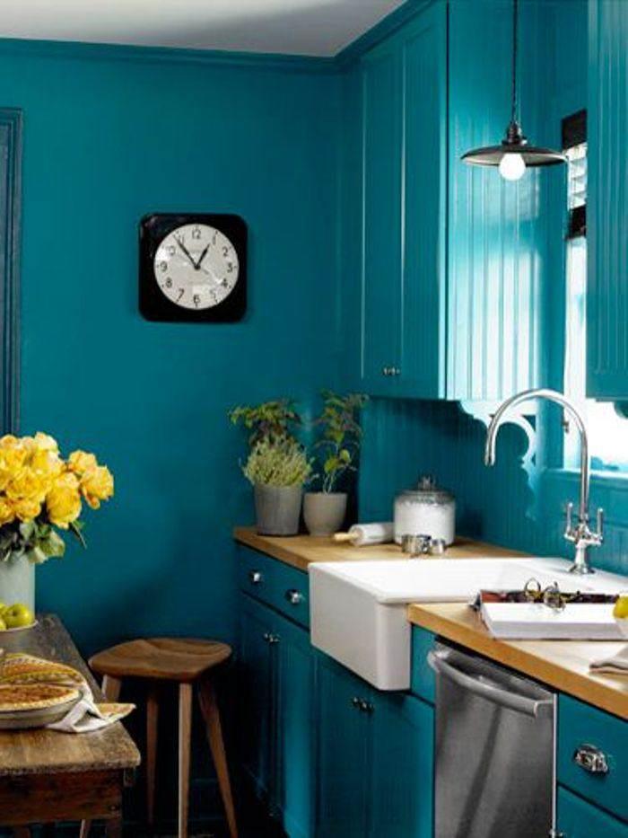 Pintar cocina 5 factores para elegir el color el - Pintura azul turquesa ...