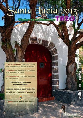 Cartel de la fiesta de Santa Lucia, Tazo, Vallehermoso