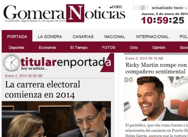 Portada de www.gomeranoticias.com