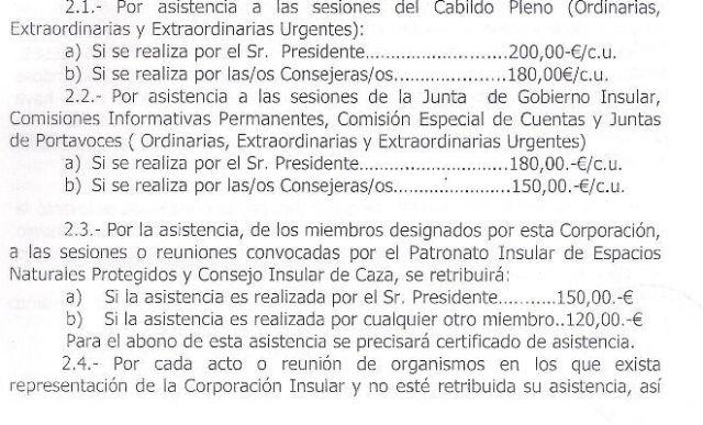DIETAS DE LOS CONSEJERO DE CABILDO VIGENTES DESDE 01/01/2011