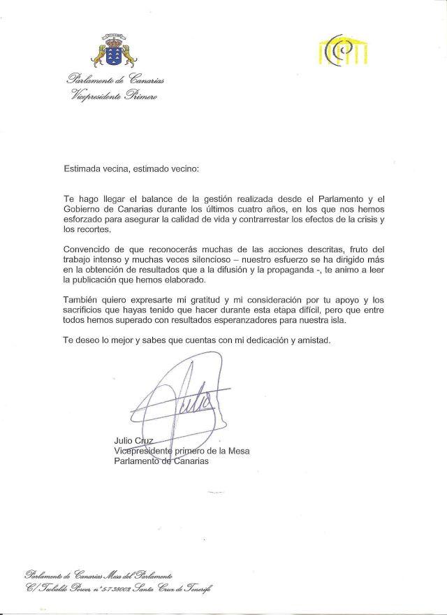 Carta de presentación de Julio Cruz en papel del Parlamento de Canarias