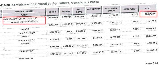 SALARIOS DEL PRIMER TENIENTE DE ALCALDE DE S.S GOMERA EN EL CABILDO EN EL AÑO 2013