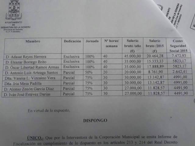 sueldos en san sebastian de la gomera