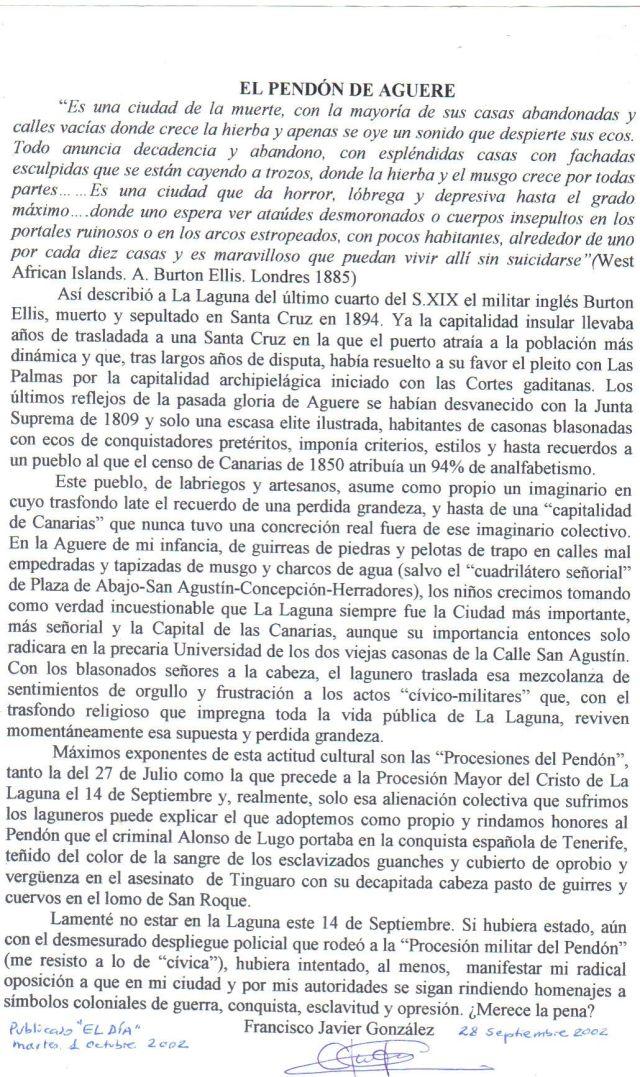 El Pendón de Aguere El Día 1 oct. 2002