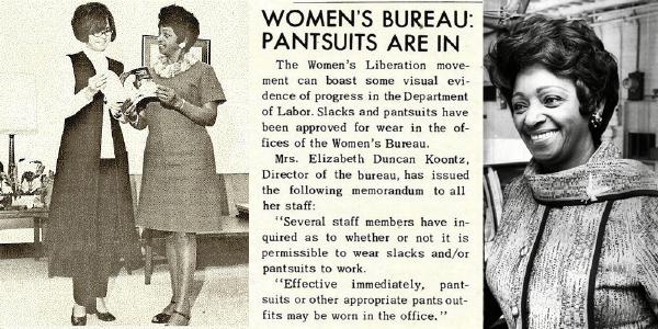 Newspaper clipping reads: Women's Bureau: Pantsuits are in. Black and white photo of Women's Bureau Director Elizabeth Duncan Koontz
