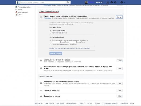 Facebook alerta de sesión