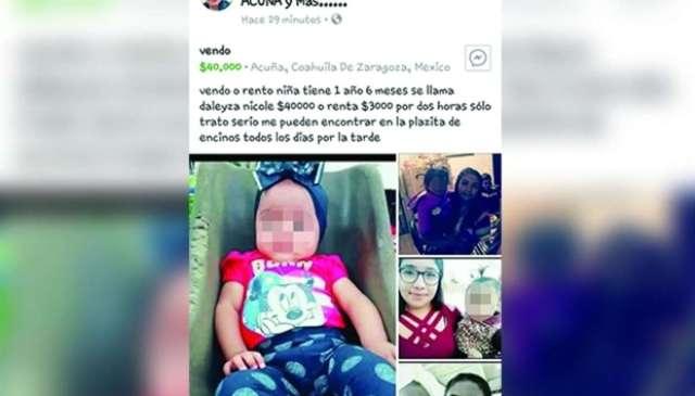 Vende o renta a bebé en Facebook por 40 mil pesos